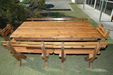 Tasman slat back Cypress outdoor timber setting available to order now!