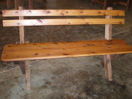 3 seat slat back Cypress outdoor timber bench available to order now!
