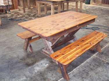 Rectangular Palm Beach Cypress outdoor timber table cross legs available to order now!