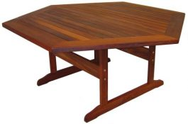 Hexagonal Mendi Kwila Outdoor Timber Table ready to order now!