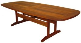 Rectangular Buka Curved Edge Kwila Outdoor Timber Table ready to order now!