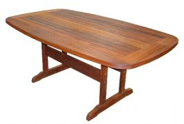 Rectangular Rigo Curved Edge Kwila Outdoor Timber Table ready to order now!