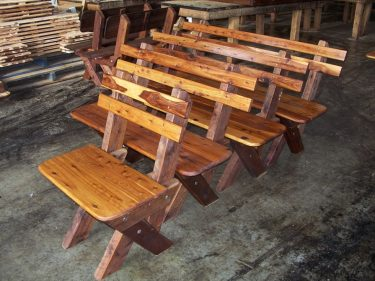 3-4 seat slat back Cypress outdoor timber bench available to order now!
