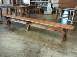 5-6 seat backless Cypress outdoor timber bench available to order now!