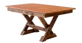 Rectangular Palm Beach Cypress outdoor timber table cross leg available to order now!