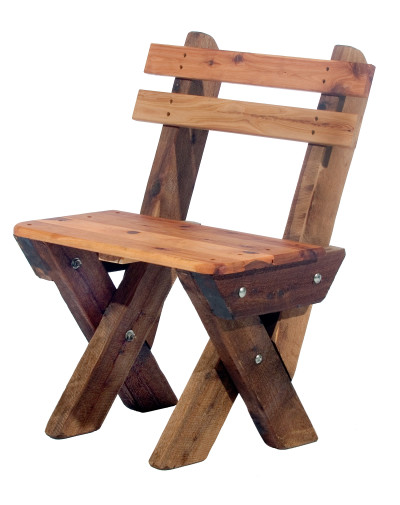 Single Seat Slat Back Cypress Outdoor Timber Bench