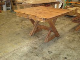 Square Southport 1200mm Cypress outdoor timber table cross leg available to order now!
