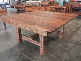 Square Southport 1600mm Cypress outdoor timber table square legs available to order now!