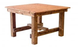 Square Southport 1200mm Cypress outdoor timber table square legs available to order now!