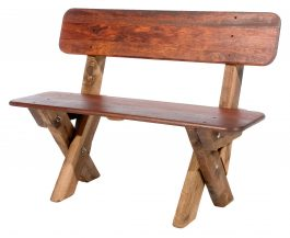 2 seat high back Kwila outdoor timber bench available to order now!