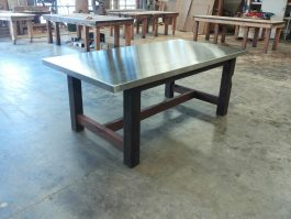 Stainless steel top recycled timber table available to order now!