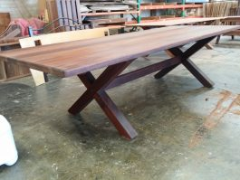Rectangular Kirra XL 2950mm Kwila Outdoor Timber Table square cross legs available to order now!