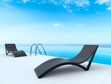 Slim Sun Lounge in colour BLACK available to order now!